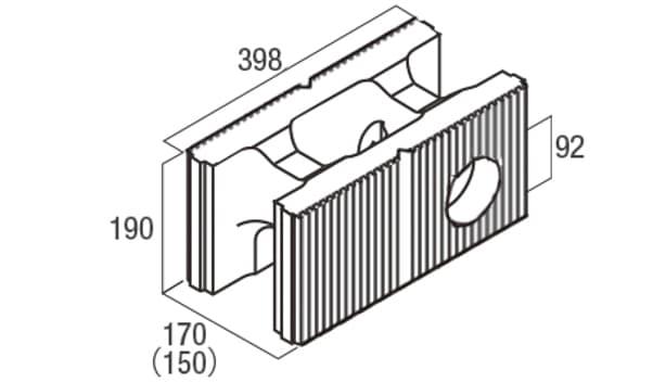 スクエアC・型枠-寸法図-水抜き用