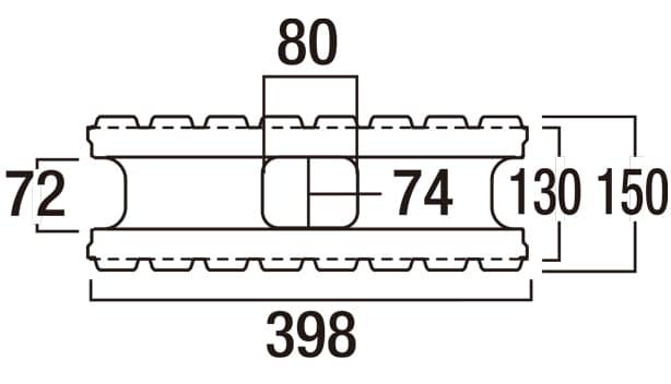 リブロック150-寸法図-基本形横筋上部