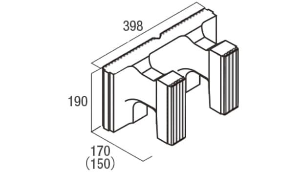 スクエアC・型枠-寸法図-ハンチ用